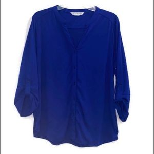Peter Nygard   Royal Blue Button Front Blouse